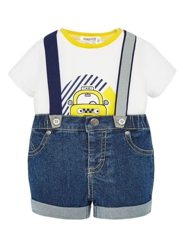 Mayoral Dungaree Shorts Two Piece Set