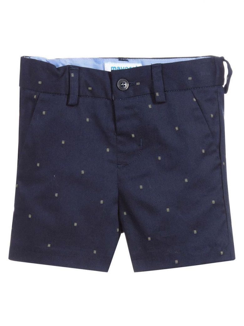 Mayoral Navy Cotton Embroidered Shorts