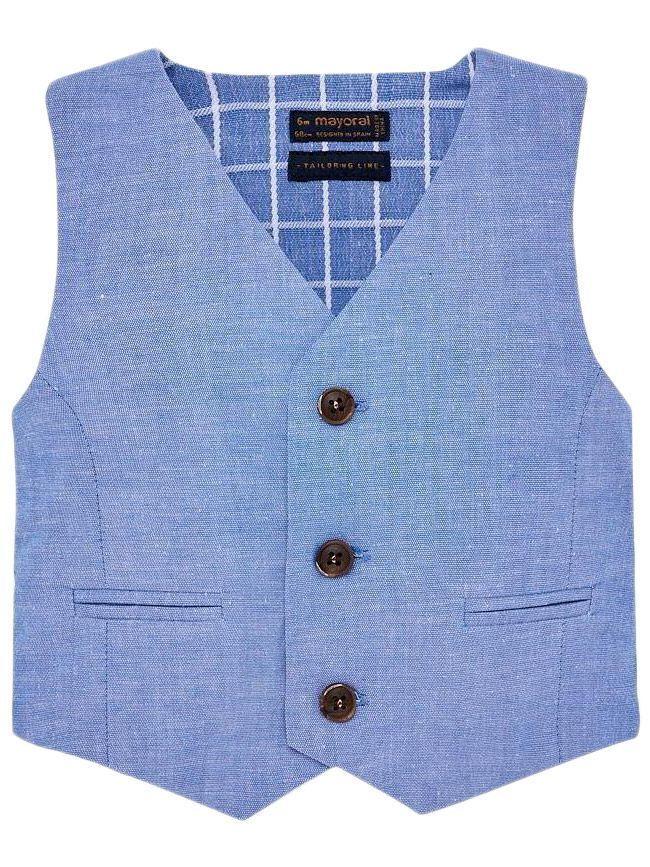 Mayoral Lavender Blue Linen Suit Waistcoat