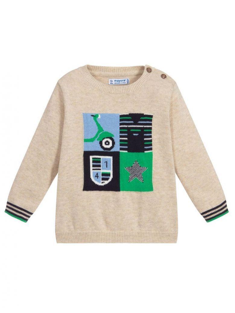 Mayoral Beige & Multi Design Knit Jumper