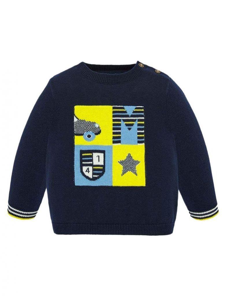 Mayoral Navy Front Print Knit Jumper