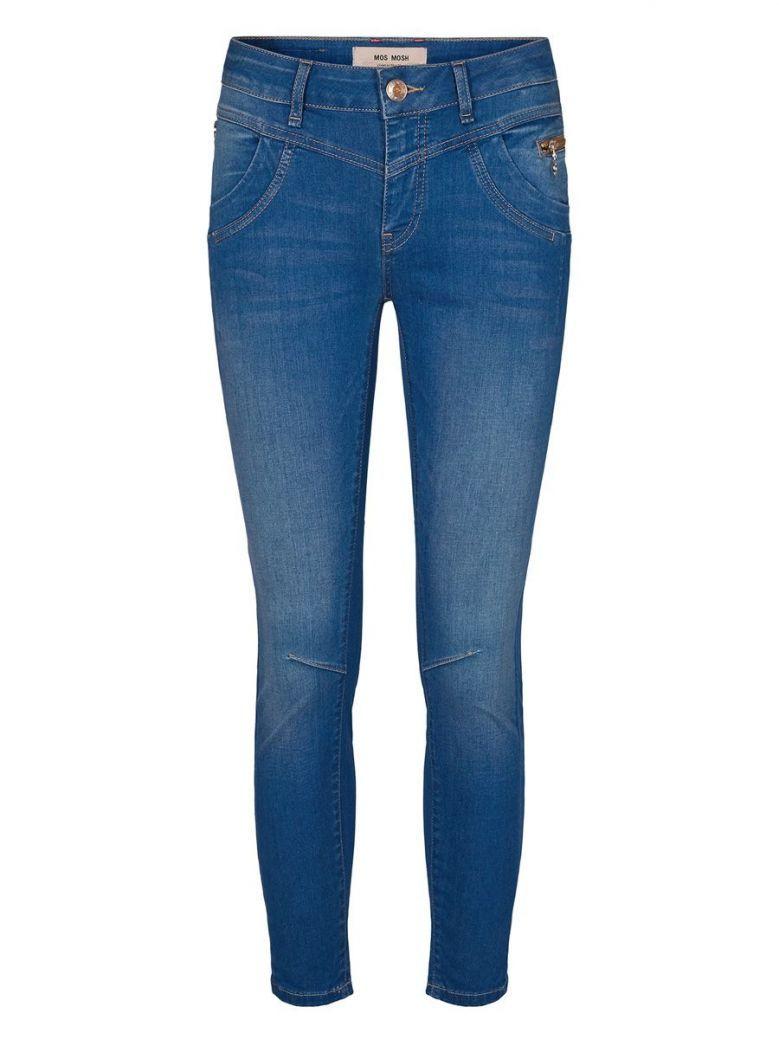 Mos Mosh Dark Blue Sharon Split Satin Jeans