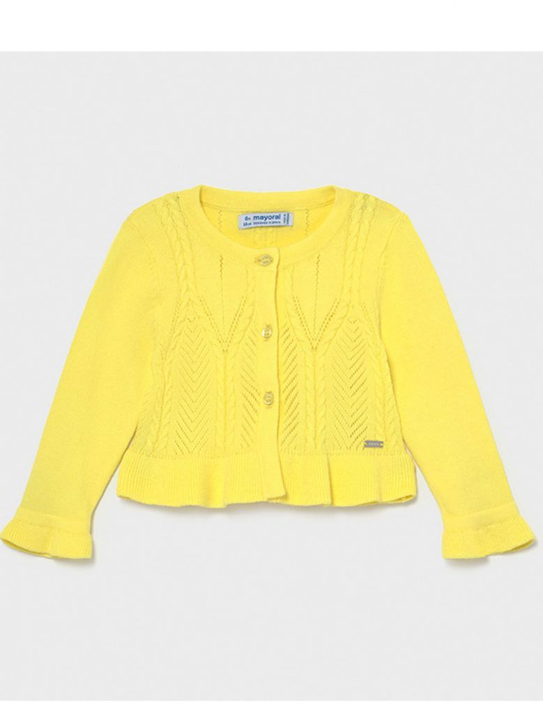 Mayoral Yellow Knitted Patterned Cardigan
