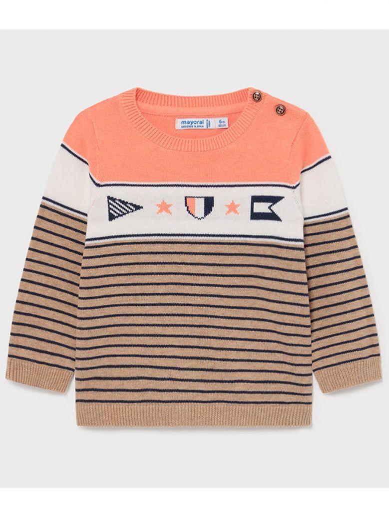 Mayoral Orange Stripe Knit Jumper