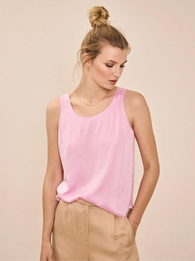 Mos Mosh Bubble Pink Astrid Silk Tank Top