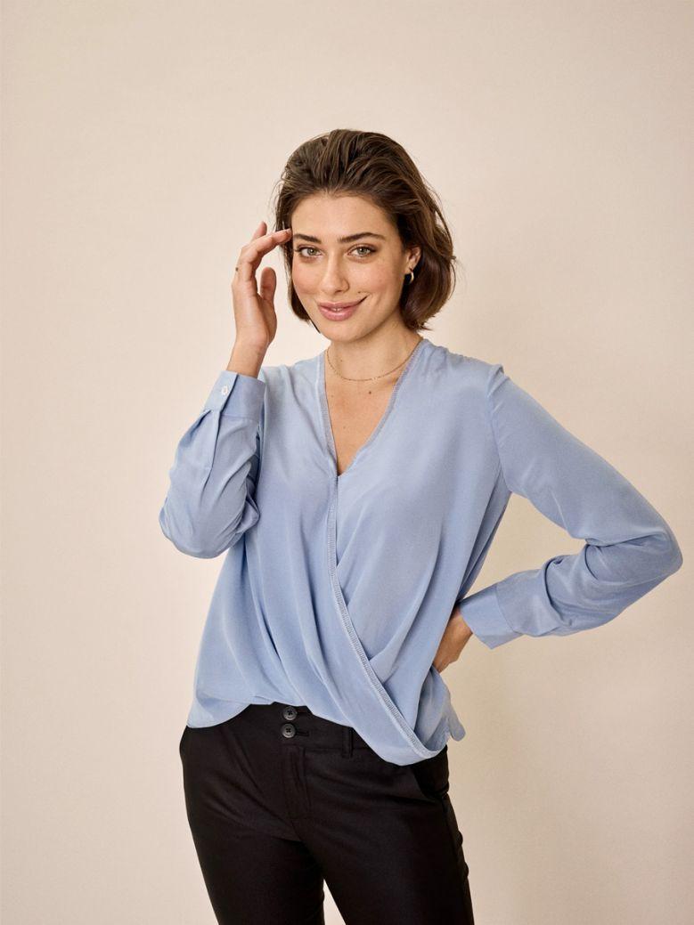 Mos Mosh Ladies Bel Air Blue Jane Silk Blouse