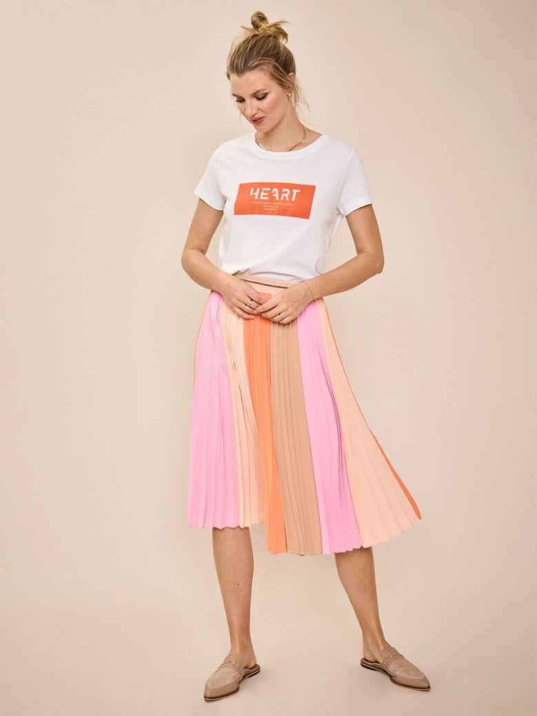 Mos Mosh Peach Parfait Plisse Block Skirt