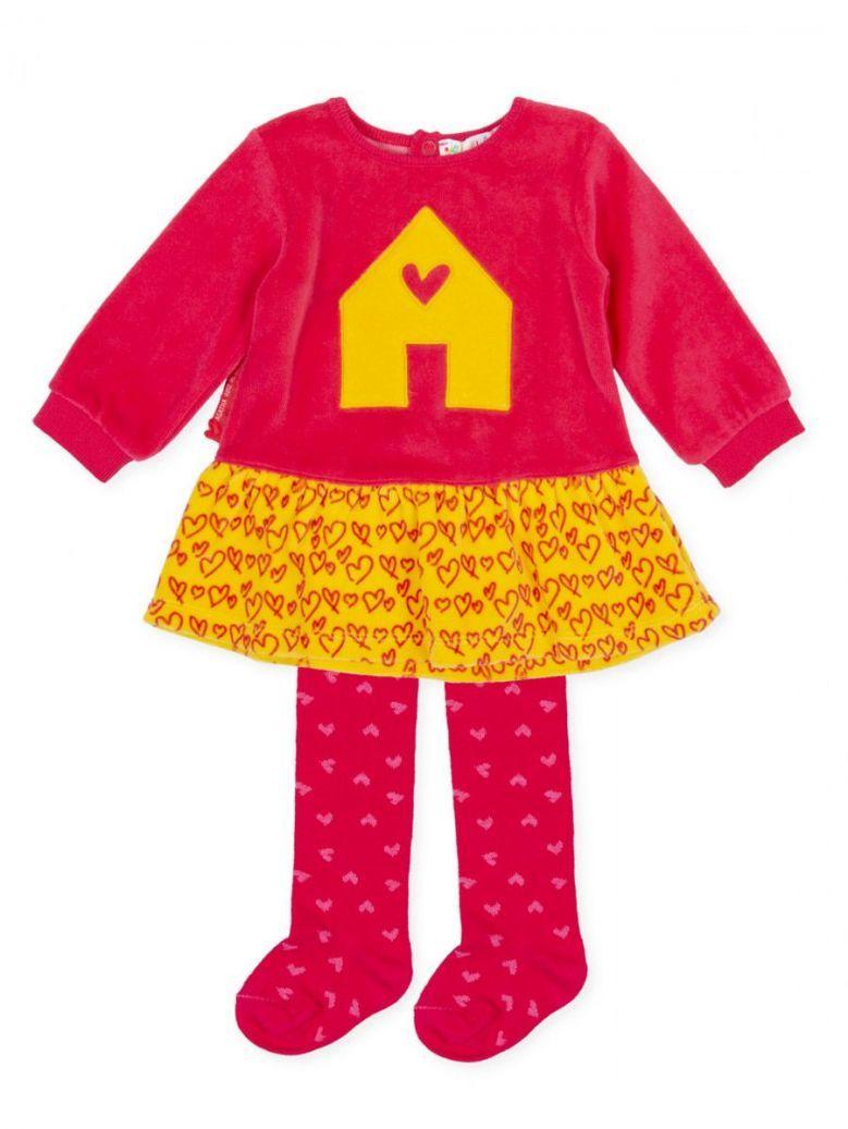 Agatha Ruiz Coral and Mustard Dress and Tights Set