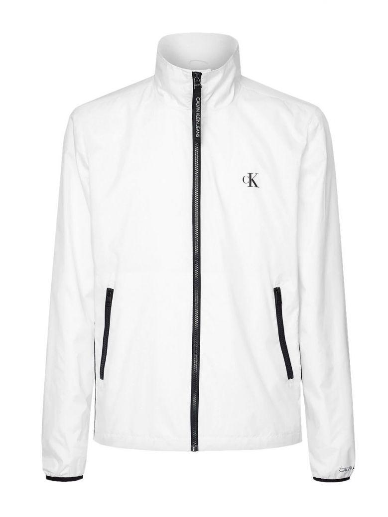 Calvin Klein Jeans Bright White Nylon Zip-Up Jacket