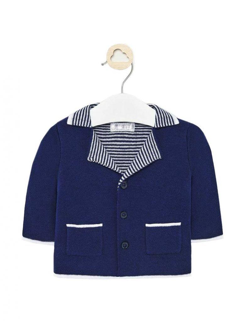 Mayoral Navy Blue Knitted Contrast Trim Jacket