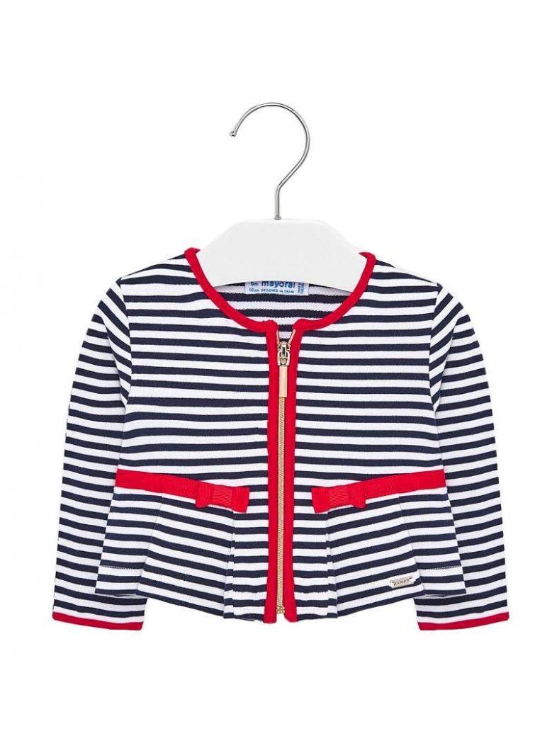 Mayoral Navy & White Striped Zip-Up Jacket