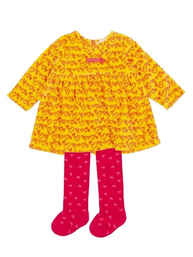 Agatha Ruiz Mustard Velvet Heart Print Dress and Tights Set