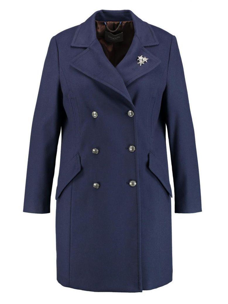 Samoon Navy Long Coat With Star Brooch