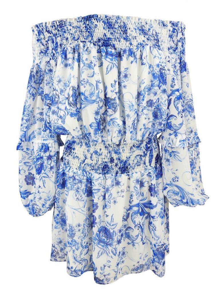 GG London White & Blue Floral Print Bardot Dress