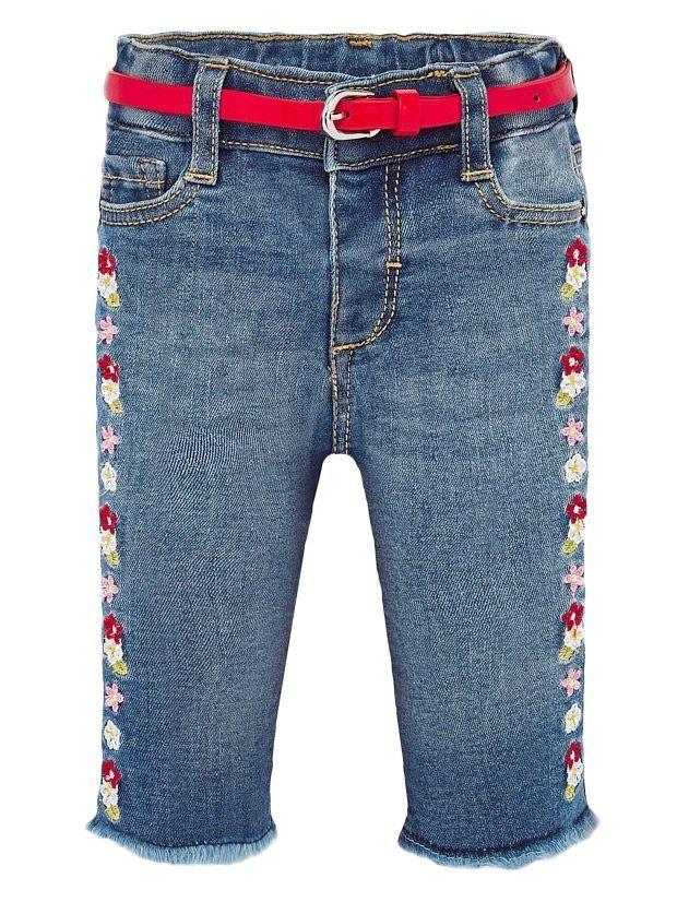 Mayoral Denim Floral Embroidered Jeans