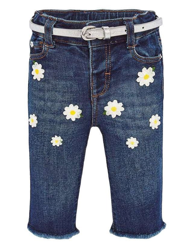 Mayoral Denim Daisy Embroidered Jeans