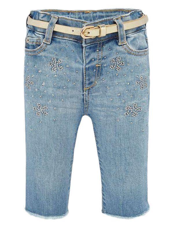 Mayoral Light Denim Embroidered Jeans With Blet