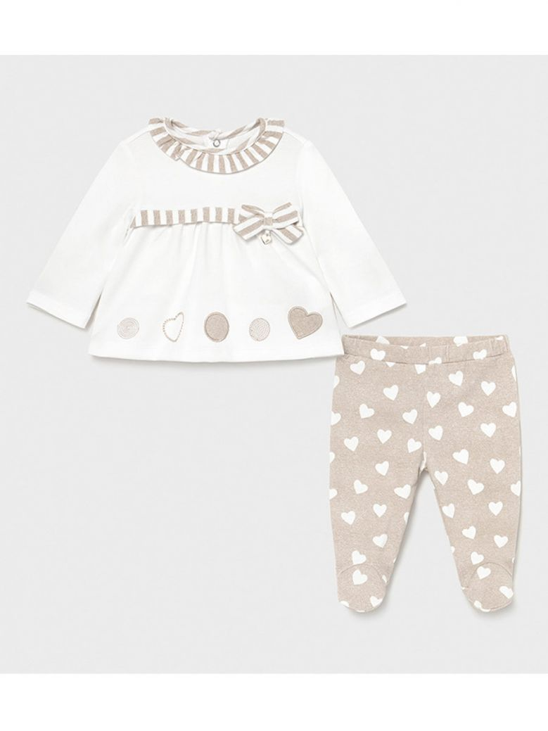 Mayoral 2 Piece Taupe Top & Heart Print Leggings in Gift Box