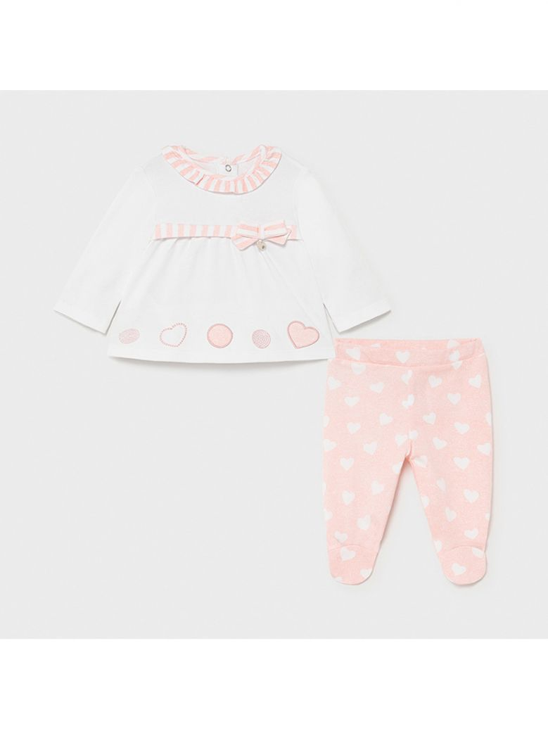 Mayoral Pink Heart Two Piece Outfit for Newborn Girl in Gift Box