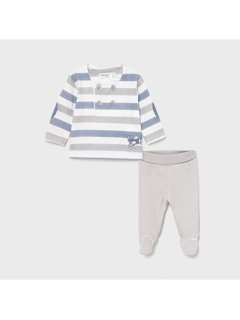 Mayoral Sailor Stripe Two Piece Outfit for Newborn Boy in Gift Box