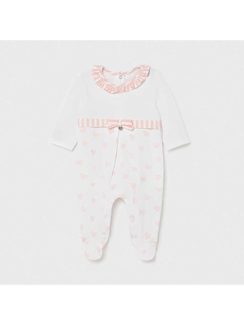 Mayoral Pink Heart Knit Babygro for Newborn Girl in Gift Box