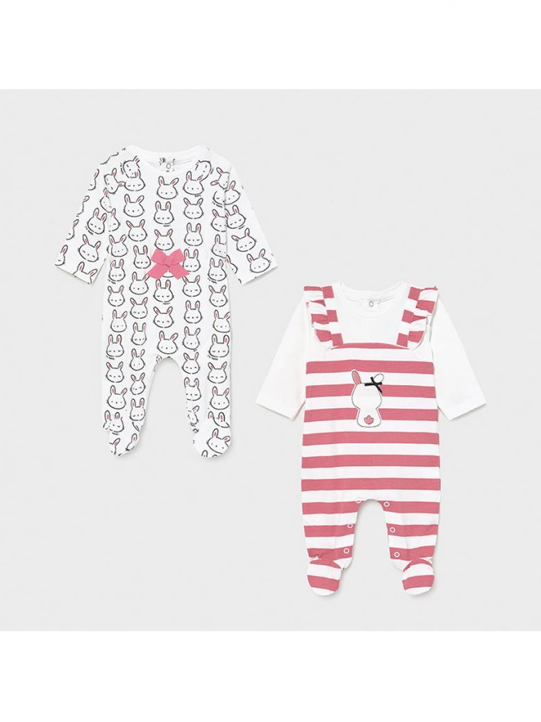 Mayoral Bubblegum Pink Set of Two Babygros for Newborn Girl in Gift Box