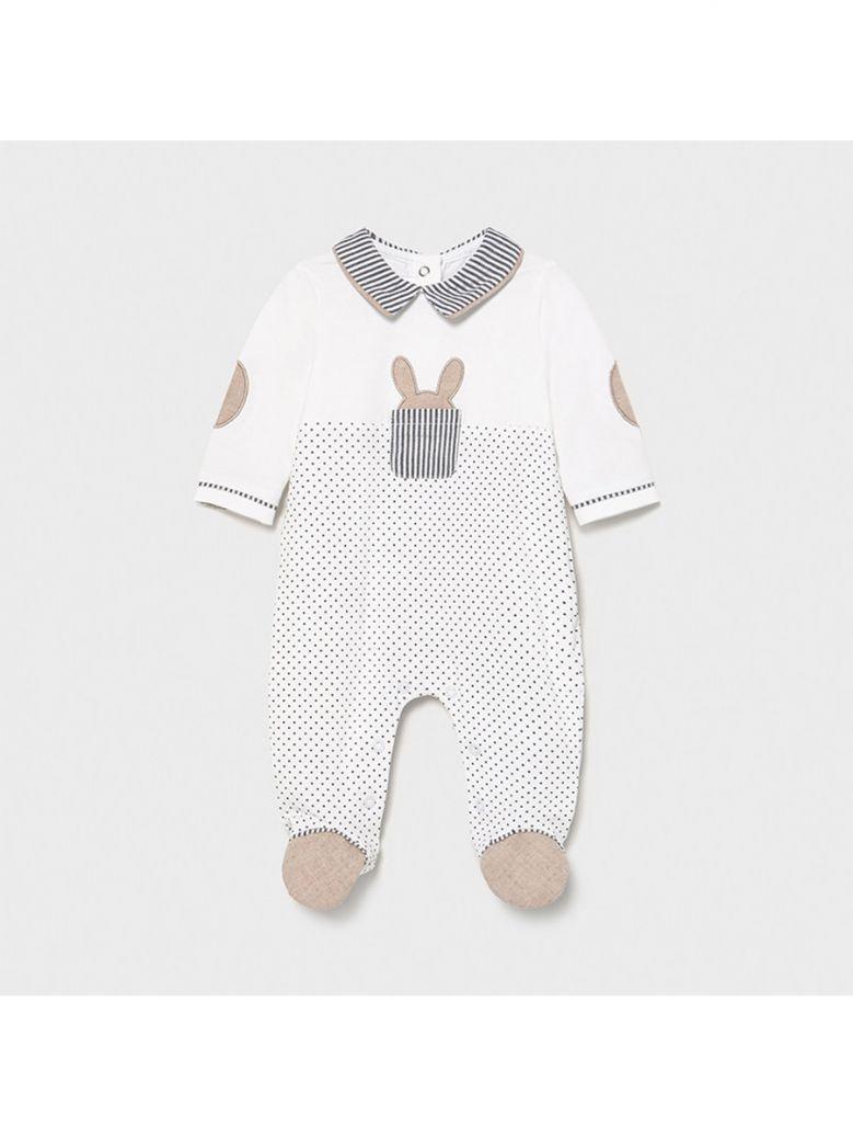 Mayoral Black Polkadot Knit Babygro for Newborn Boy in Gift Box