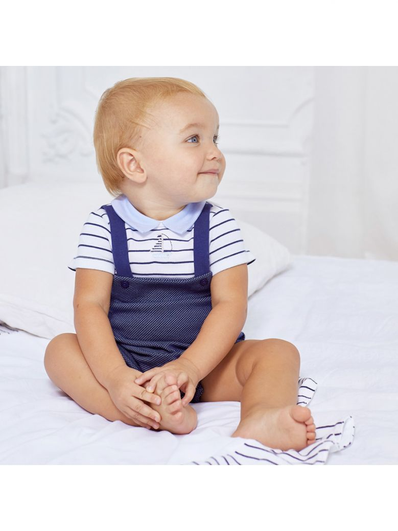 Mayoral Navy Knit Onesie with Hat