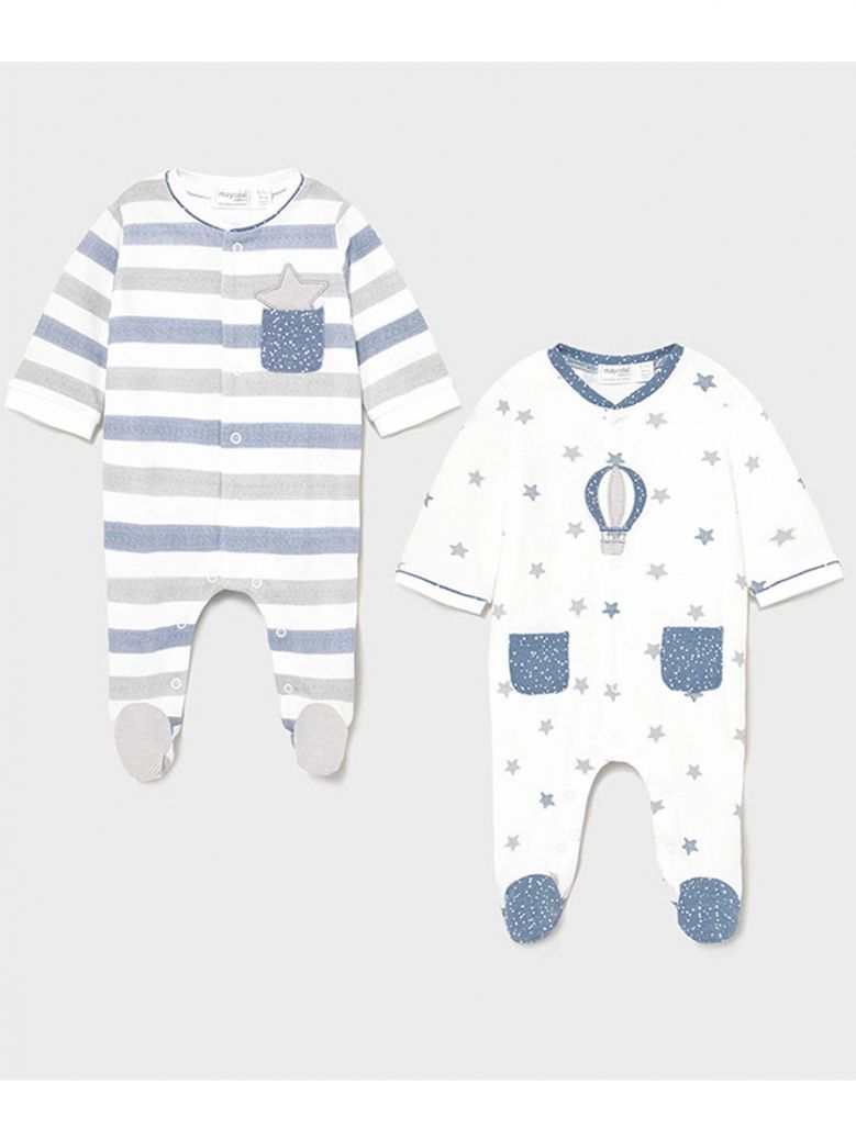 Mayoral 2 Pack Blue & White Printed Babygrows in Gift Box
