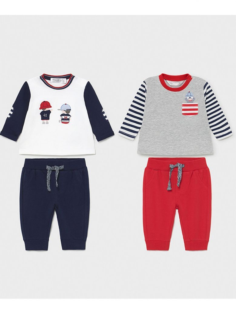 Mayoral Red & Navy 4 Piece Top & Jogger Sets