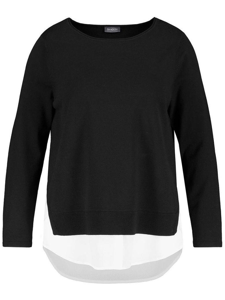 Samoon Black Mock Shirt Underlayer Jumper