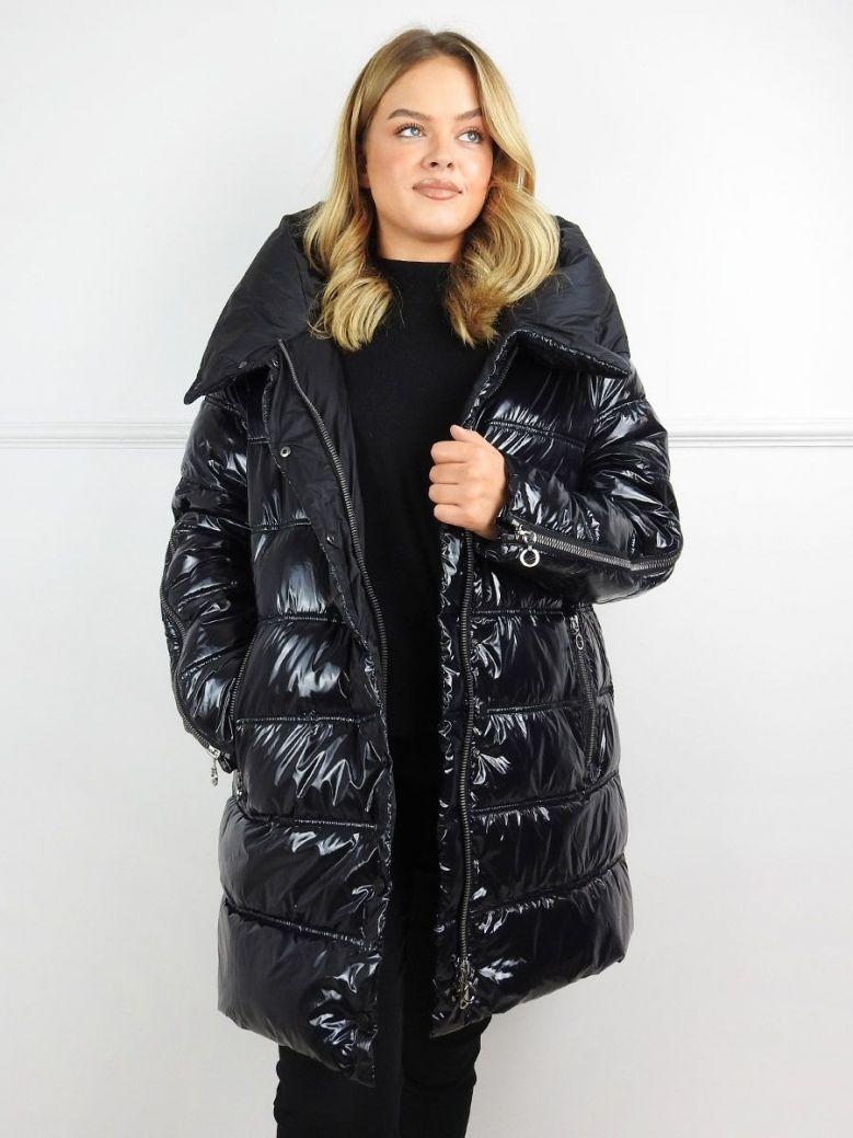 Frandsen Black Wet Look Padded Coat