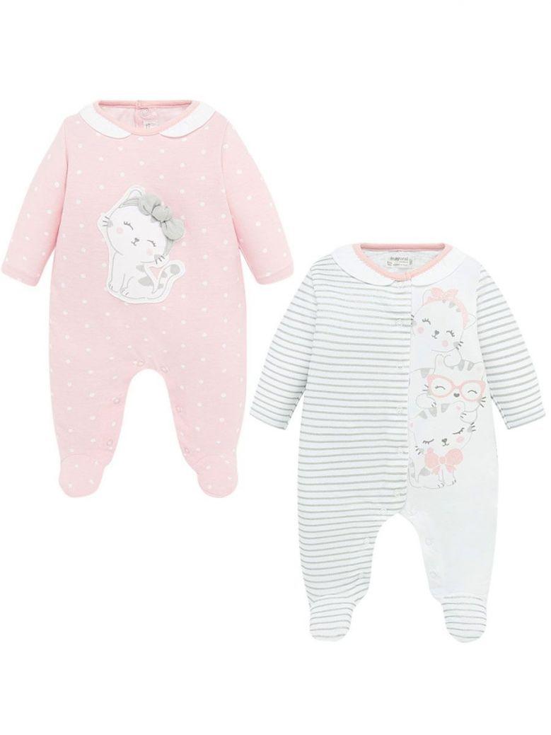 Mayoral Pink Printed 2 Pack Babygrows