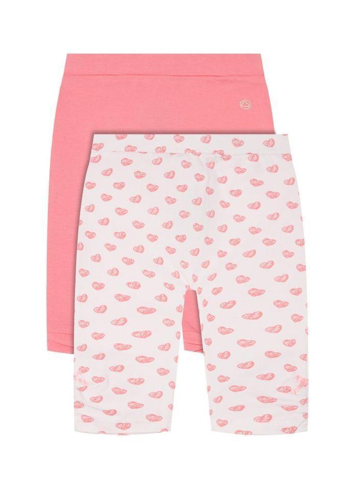 Mayoral Pink & White Heart Print 2-Pack Leggings