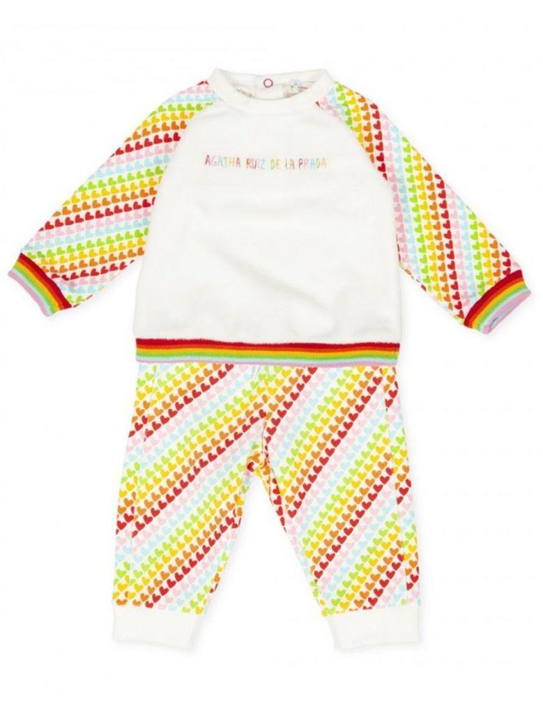 Agatha Ruiz Cream & Multicolored Heart Print Top & Joggers