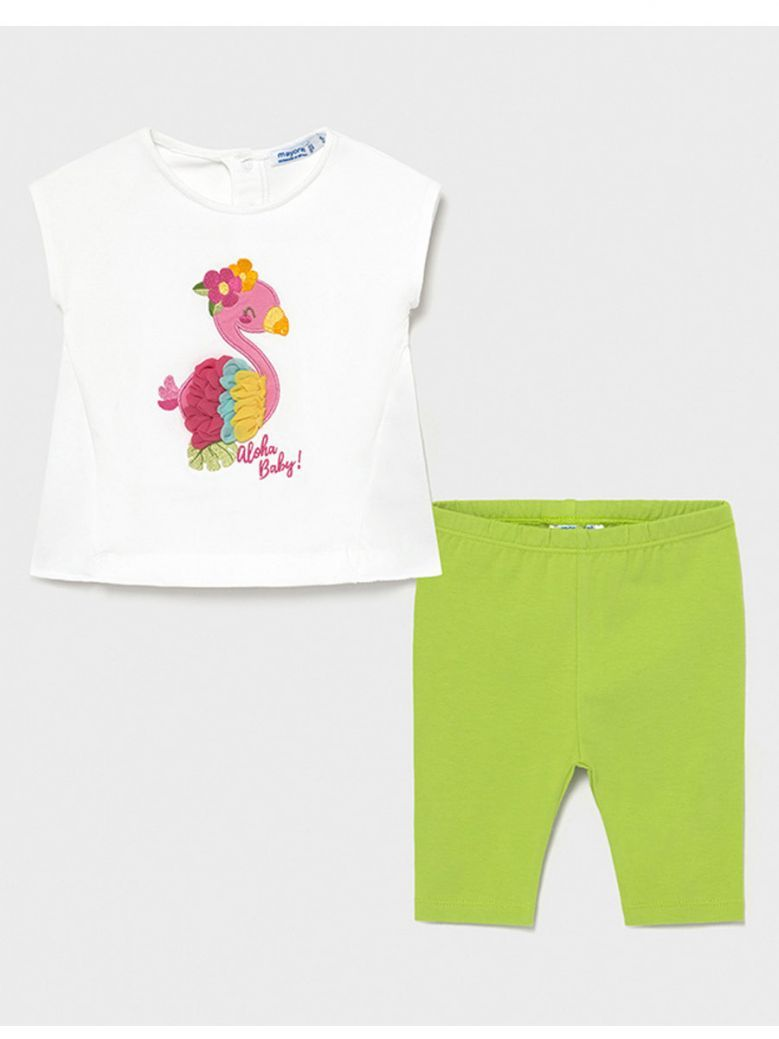 Mayoral White Embroidered T-Shirt & Green Leggings