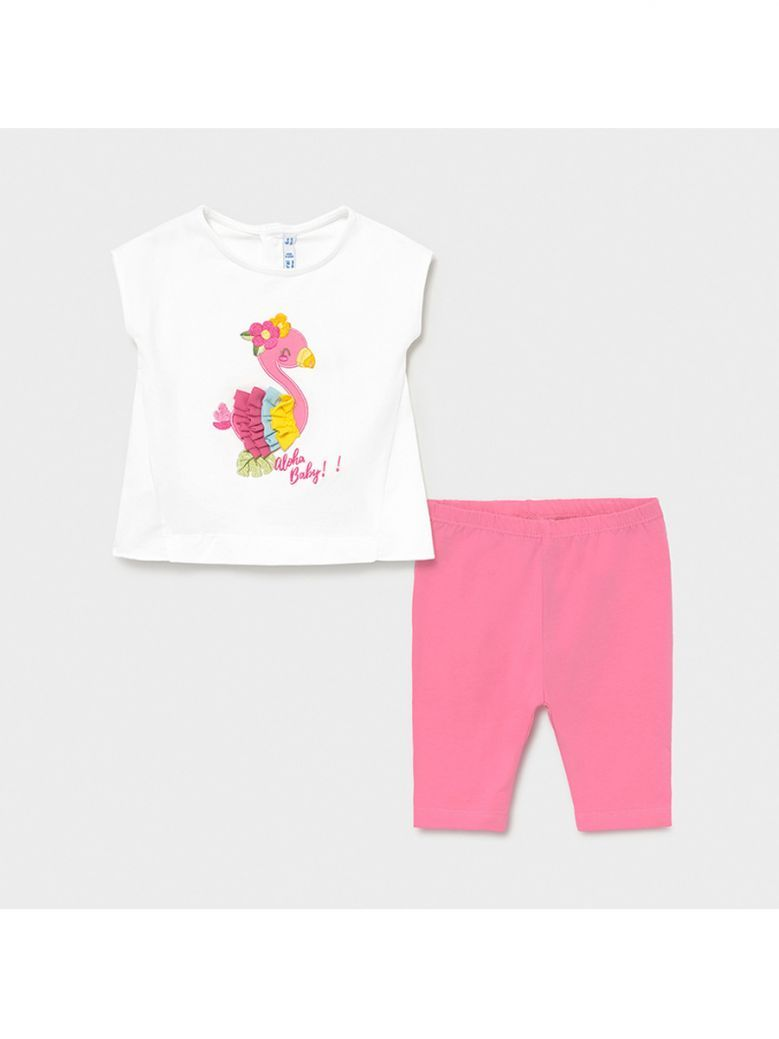 Mayoral White Embroidered T-Shirt and Pink Leggings Set