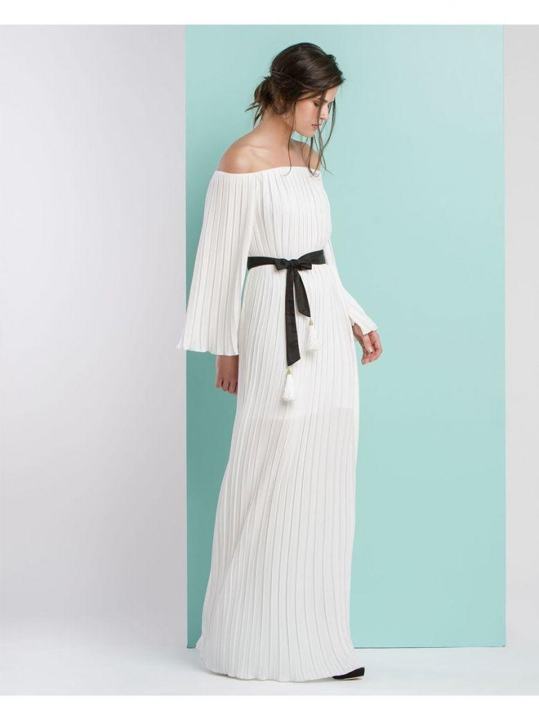 Access Fashion White Pleated Dress