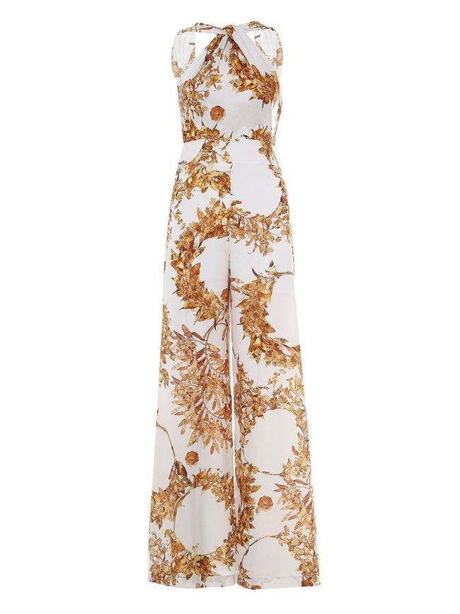 SPELL Off-White & Gold Floral Print Jumpsuit
