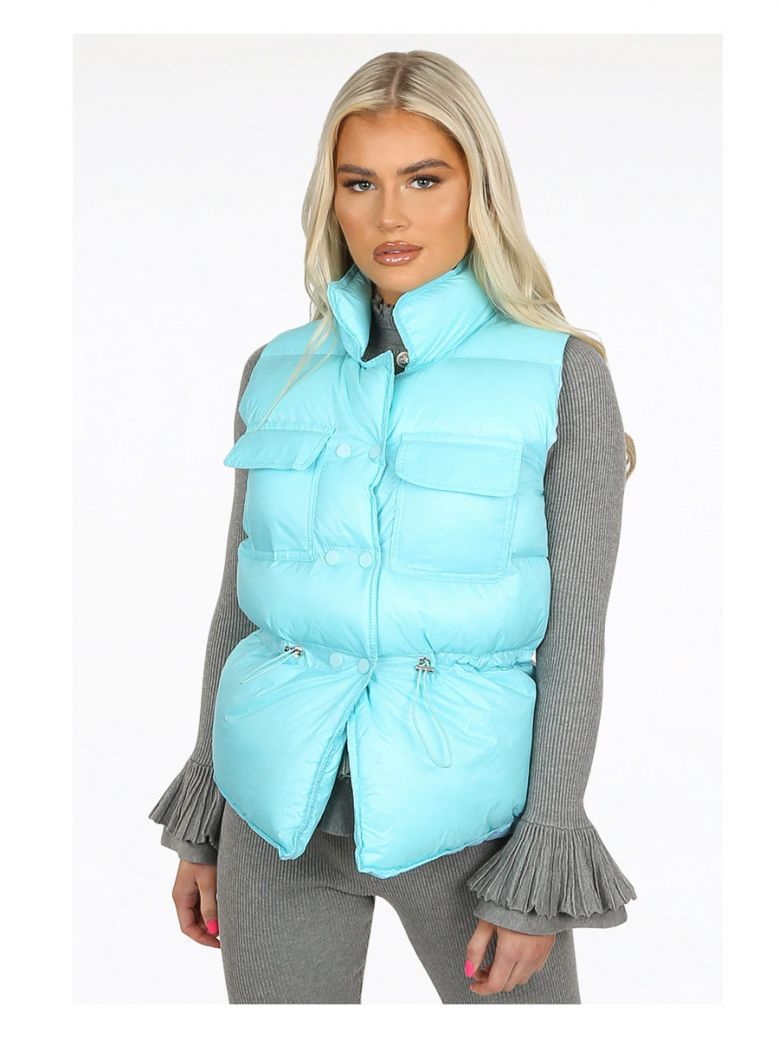 Mint Green Pocket Front Quilted Gilet