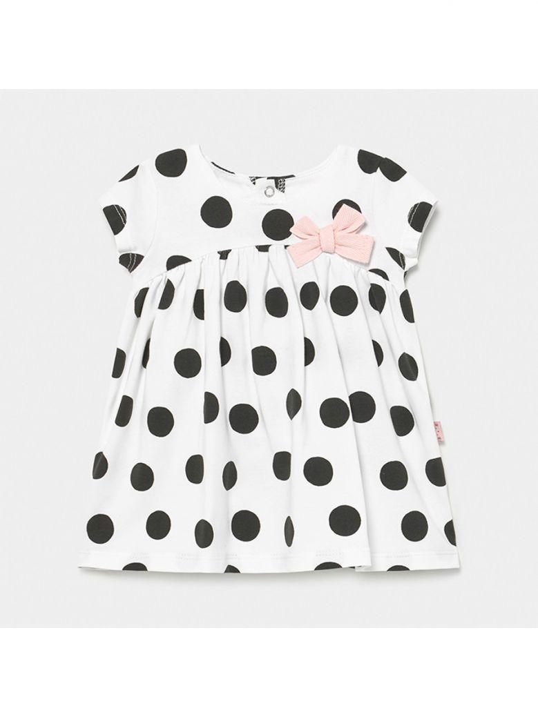 Mayoral Black and White Spot Knit Dress
