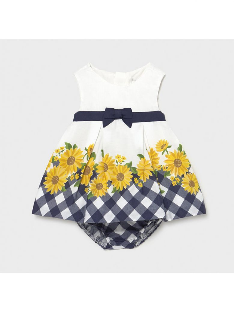 Mayoral Navy Border Dress for Newborn Girl