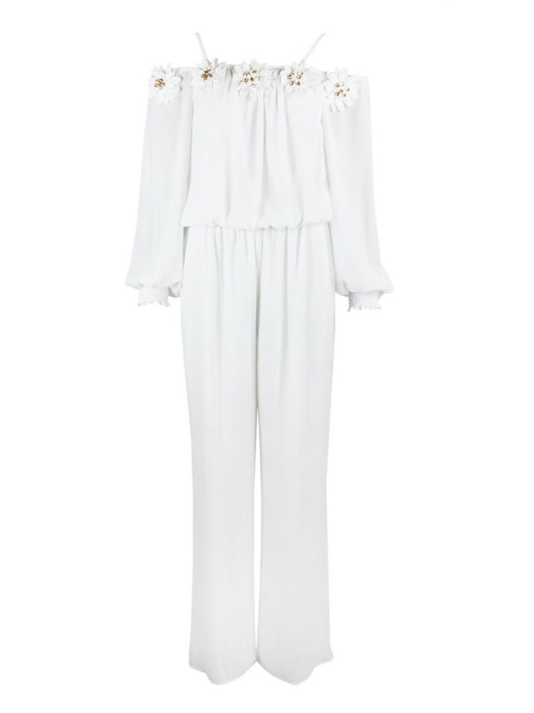 Frank Lyman Off-White Floral Neckline Jumpsuit
