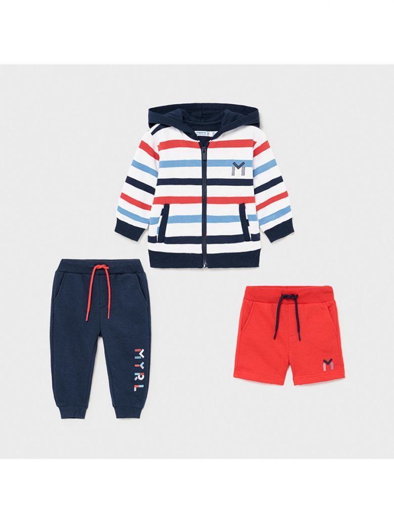 Mayoral Cyber Red 3 Piece Striped Tracksuit Set