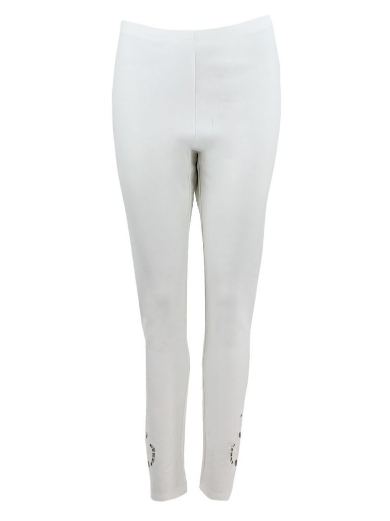 Frank Lyman Off-White Cutout Detail Leggings