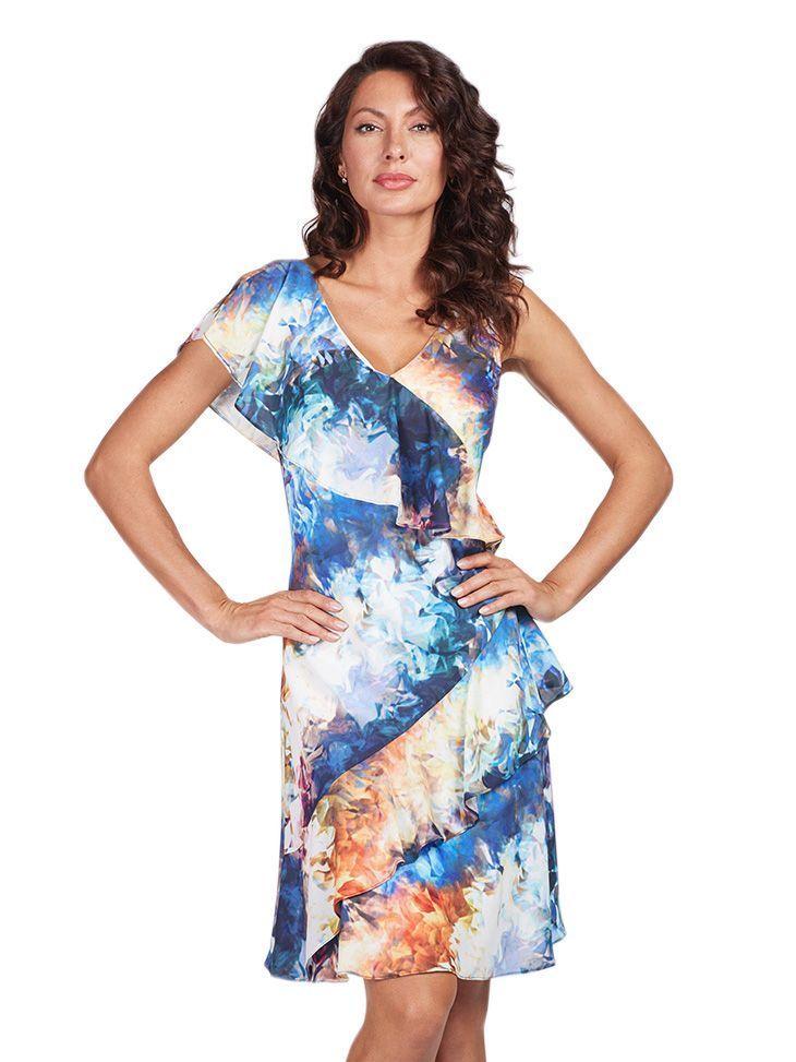 Frank Lyman Multi Floral Print Ruffle Dress