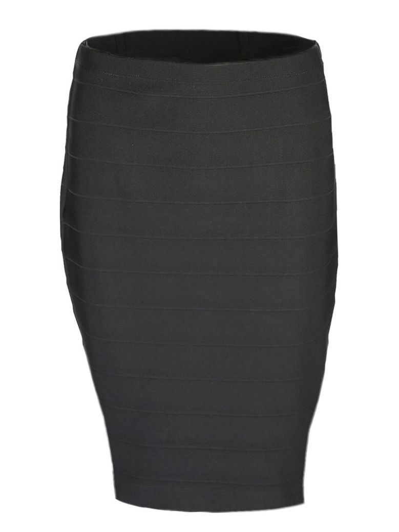Frank Lyman Black Ribbed Pencil Skirt