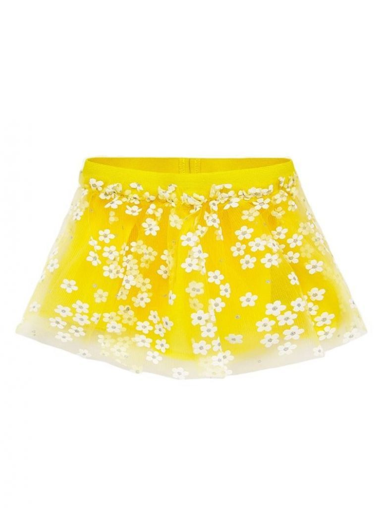 Mayoral Yellow Floral Tulle Skirt