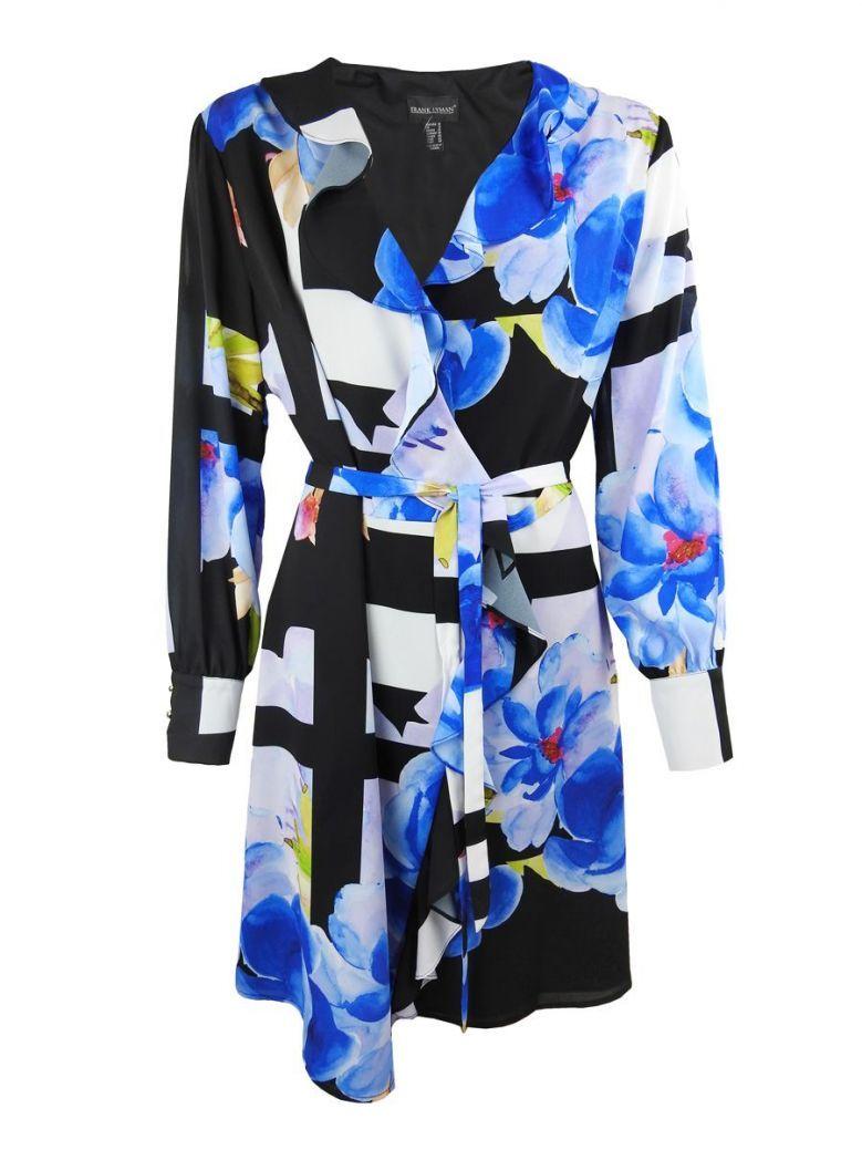 Frank Lyman Multi Floral Print Wrap Dress