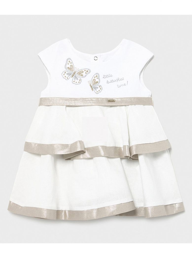 Mayoral Cream Linen Mix Sleeveless Dress
